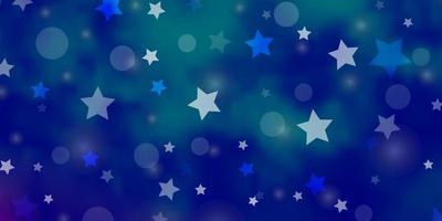 ljusrosa, blå vektorstruktur med cirklar, stjärnor. vektor