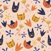 sömlösa mönster med söta färgglada kattungar. katt djur tecknad barnslig hand dras med blomdekoration. vektor