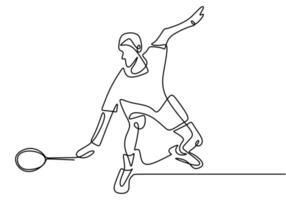eine Strichzeichnung des jungen Mannes, der Tennis spielt. vektor