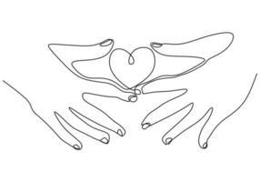 hand som håller hjärtat en linje ritning. minimalism skiss vektorillustration. kärlekssymbol för alla hjärtans dagskort, banner och bakgrund. vektor
