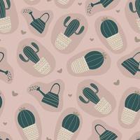 sömlösa mönster med kaktus. retro handritade söta objekt.