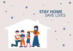covid-19 koronavirus karantän och förebyggande kampanj. figur av människor familj med föräldrar och barn som bär mask i huset. vektor