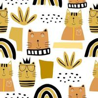 söta katter sömlösa mönster. kreativ barnslig konsistens.