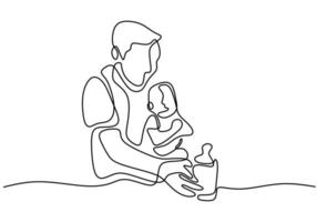 Vater kümmert sich um sein Baby. ein Baby Milch geben, wenn sein Baby weint. vektor