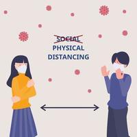 fysisk distansering, håll avstånd i det offentliga samhället. människor att skydda från covid-19 coronavirus, antiviral kontaminering koncept. vektor