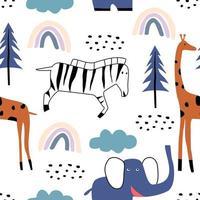 nahtloses Muster mit niedlichem Zebra, Elefant, Giraffe. Hand gezeichneter entzückender Tierhintergrund im kindlichen Stil. vektor