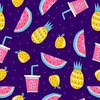 sommar sömlösa mönster, vektorillustration med vattenmelon, ananas, apelsinfrukter och juice.