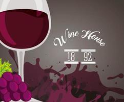 Weinplakat mit vollem Glas und Trauben vektor