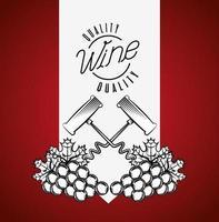Weinhausplakat mit Korkenzieher und Trauben vektor
