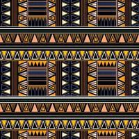 nahtloses Stammesmuster im afrikanischen Stil auf schwarzem Hintergrund.