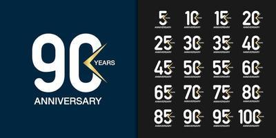 moderna geometriska årsdagen firande ikoner set vektor