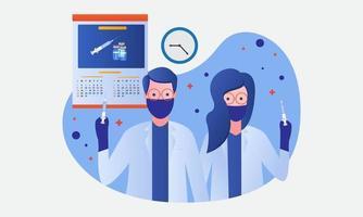 Coronavirus Covid 19 Impfstoff Tag Flat Design Illustration. männlicher Arzt und Ärztin bereit, Impfstoffe zu injizieren vektor