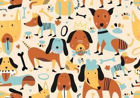 söta hundar. barnslig djur sömlös mönster tecknad vektorillustration. vektor