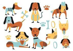 söta hundar. barnslig djur tecknad vektorillustration. vektor