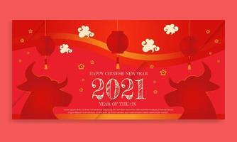 Chinesisches Neujahr 2021 Jahr des Ochsen Chinesisches Sternzeichen Symbol Poster vektor