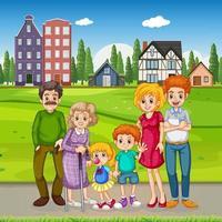 utomhus scen med lycklig familj vektor