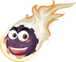Flammenmeteor-Zeichentrickfigur mit glücklichem Gesichtsausdruck auf weißem Hintergrund vektor