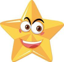 stjärntecknad karaktär med lyckligt ansiktsuttryck på vit bakgrund