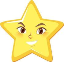 Sternkarikaturfigur mit glücklichem Gesichtsausdruck auf weißem Hintergrund vektor