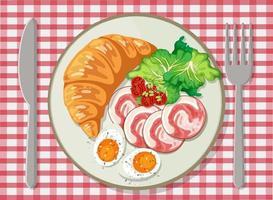 ovanifrån av frukost i en maträtt