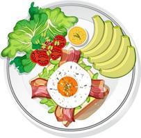 Draufsicht auf Frühstücksgericht isoliert vektor