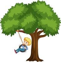 Kind, das Reifenschaukel unter dem Baum auf weißem Hintergrund spielt