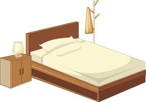 Holzbett mit Lampe lokalisiert auf weißem Hintergrund vektor