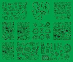 Satz von Objekt und Symbol Hand gezeichnet Gekritzel auf grünem Hintergrund vektor