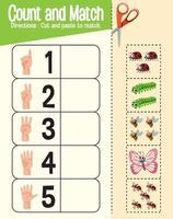 Zähl- und Matchspiel, Mathe-Arbeitsblatt für Kinder vektor
