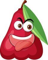 Rosenapfel-Zeichentrickfigur mit glücklichem Gesichtsausdruck auf weißem Hintergrund vektor