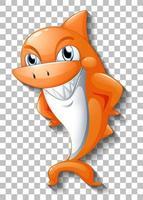 lächelnde niedliche Hai-Zeichentrickfigur vektor