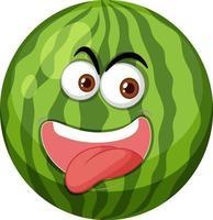 Wassermelonen-Zeichentrickfigur mit glücklichem Gesichtsausdruck auf weißem Hintergrund