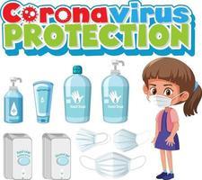 coronavirus skydd typsnitt med hand sanitizer produkt vektor