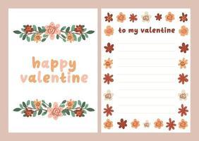 Valentinstag Karte Widmungsnotiz Liebesbrief niedlichen skandinavischen flachen Design vektor