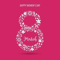8. März, Frauentag Designelement mit Blume und Blättern. vektor