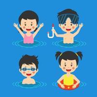 barn som har kul att simma havet
