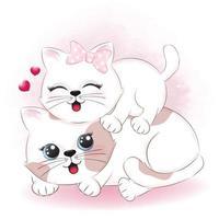 par katt och hjärta alla hjärtans dag koncept vektor