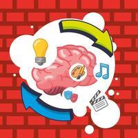 hjärnorgan med kreativa ikoner vektor