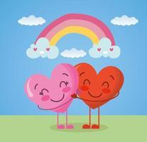 glückliche Valentinstagkarte mit Herzpaarcharakteren vektor