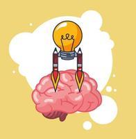 hjärnorgan med glödlampa vektor