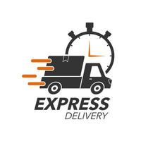 Express Delivery Icon Konzept. Abholung mit Stoppuhrsymbol für Service, Bestellung, schnellen, kostenlosen und weltweiten Versand. modernes Design. vektor