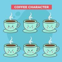 söta kaffetecken med olika uttryck