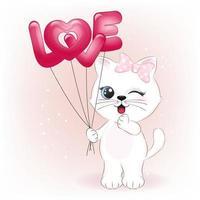 liten katt som håller kärleksballonger vektor