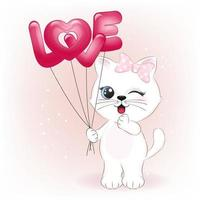 kleine Katze, die Liebesballons hält vektor
