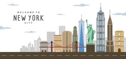 New York City Panorama Landschaftsszene mit Brooklyn Bridge, Freiheitsstatue und Weitwinkelansicht des unteren Manhattan.