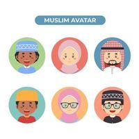 Set mit 6 muslimischen Avataren vektor
