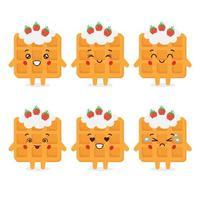 söt våffeljordgubbe med olika uttryck