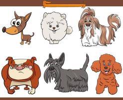 renrasiga tecknade hundar komiska teckenuppsättningar vektor