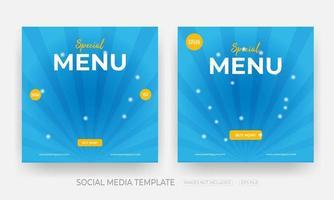 Satz Lebensmittel Social Media Banner Post Vorlage
