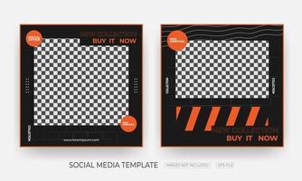 Satz Mode und Kleidung Social Media Banner Post Vorlage vektor